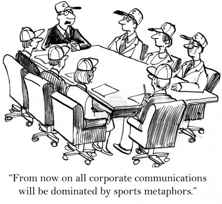 Business people sitting in a baseball caps at the table