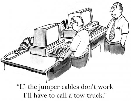 Cartoon illustration man working on computer