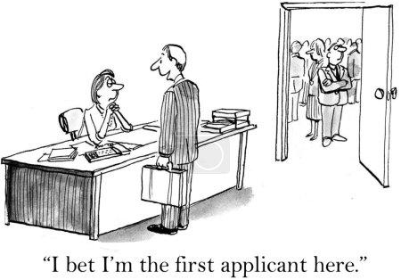Cartoon illustration. Man talking with the secretary