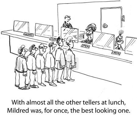 Long queue at the cashier. Cartoon illustration