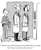Doktor ví, že někdo je čištění jeho nástrojů