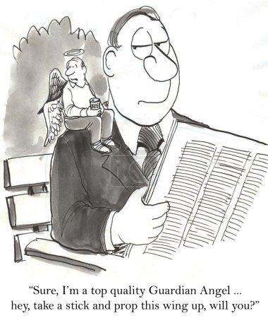 Cartoon illustration angel sits on the man's shoulder