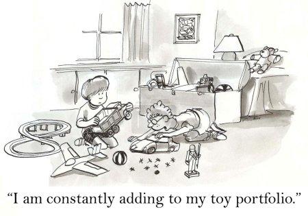 Photo pour Des enfants jouent dans la chambre. Illustration de bande dessinée - image libre de droit