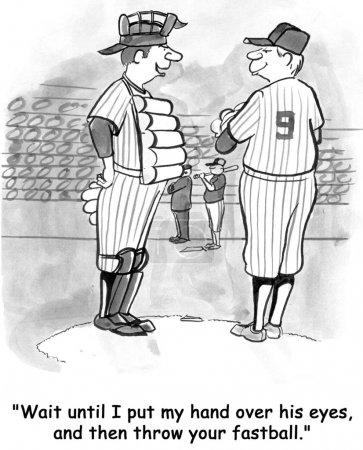 Baseball players discuss tactics. Cartoon illustration