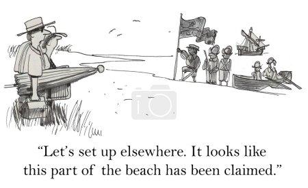 Soldiers on the beach. Cartoon illustration