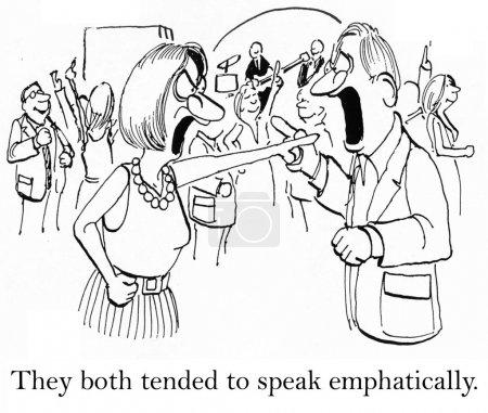 Photo pour Illustration de dessin animé. Les gens essaient de parler avec insistance - image libre de droit
