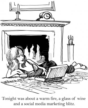Cartoon illustration. Woman with laptop lies near the fireplace