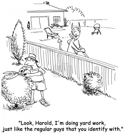 Cartoon illustration. Neighbors ennoble their yards