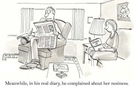 Cartoon illustration. Man wrote in his diary