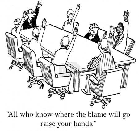 Cartoon illustration negotiations in the office