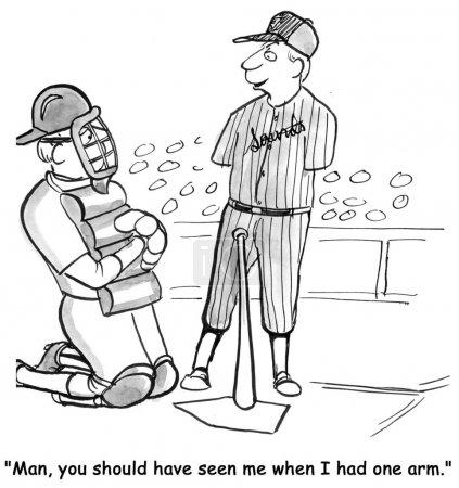 Cartoon illustration. Baseball player with no arms