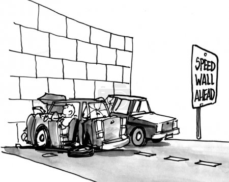 Photo pour Cartoon illustration. Car crashed into a wall. Speed Wall Ahead - image libre de droit