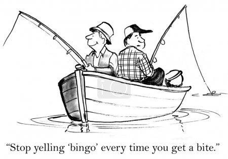 Fishermen catch fish sitting in a boat. Cartoon illustration