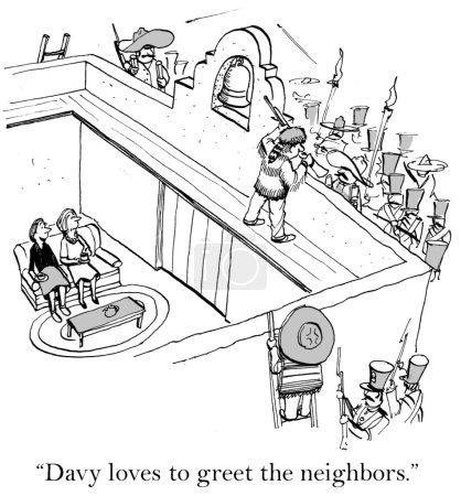 Cartoon illustration. Noisy neighbors
