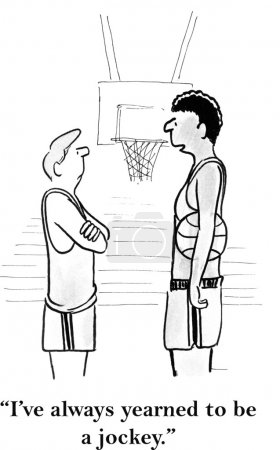 Cartoon illustration. Two basketball players on the court