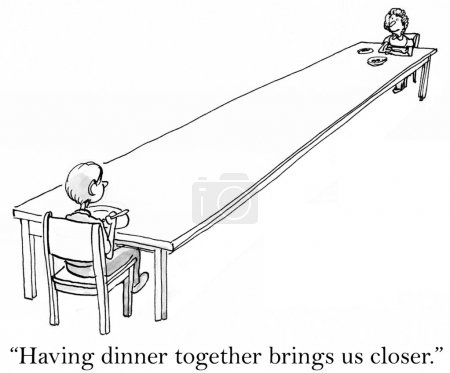 """Photo for """"Having dinner together brings us closer"""" mother. - Royalty Free Image"""