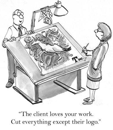 """Photo pour """"le client aime votre travail. couper tout, sauf leur logo."""" - image libre de droit"""