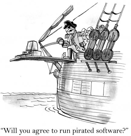 A pirate is making a desktop walk the plank
