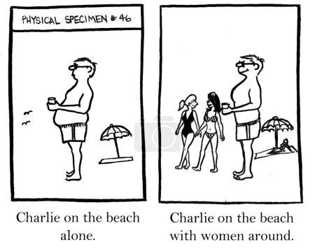 Charlie on the beach with women around