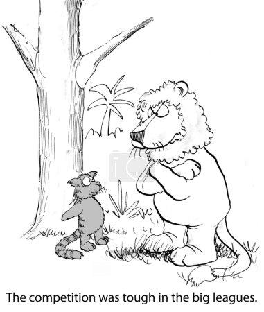 Cartoon illustration - Lion competition