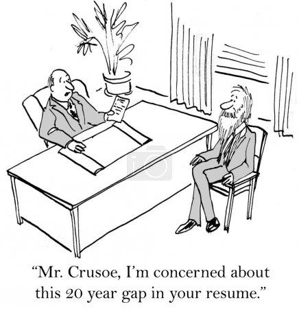 """Photo pour Cartoon illustration - robinson Crusoé. """"m. crusoe, je suis préoccupé par cet écart de 20 ans dans votre curriculum vitae."""" - image libre de droit"""