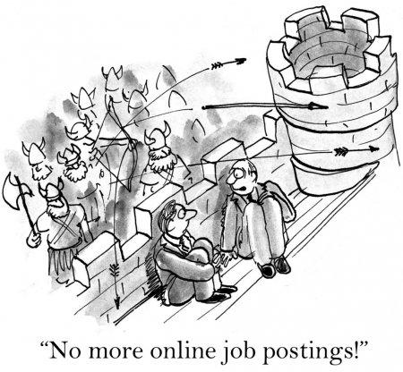 Cartoon illustration - No more online job postings!