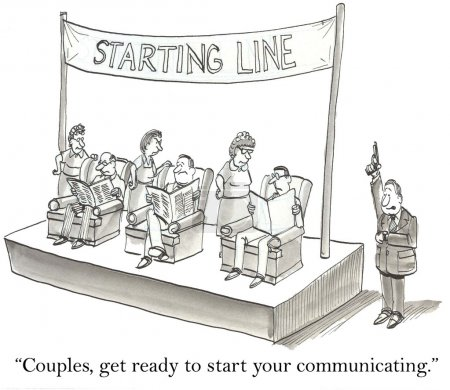 "Photo for Cartoon illustration - ""Couples, get ready to start communicating."" - Royalty Free Image"