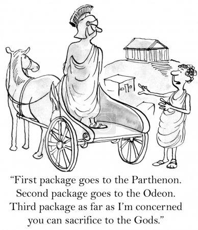"""Photo pour Client grec a besoin de paquets livrés à des sites antiques. « premier paquet va au Parthénon. deuxième paquet va à l'Odéon. troisième paquet pour autant que je suis concerné, que vous pouvez sacrifier aux dieux."""" - image libre de droit"""