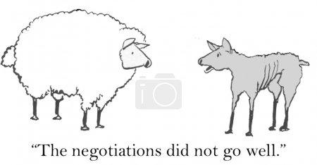 """Photo pour Bande dessinée illustration - négociations de moutons. """"les négociations ne vont pas bien."""" - image libre de droit"""