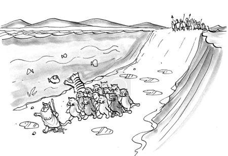 Cartoon illustration - Cat Moses.