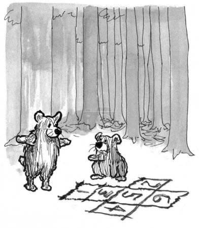 Bear kids play hopscotch in the woods