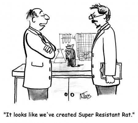 Scientists develop a new breed of rats. Сartoon illustration