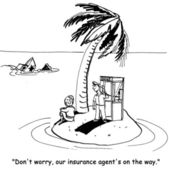 People are waiting on a desert island insurance agent
