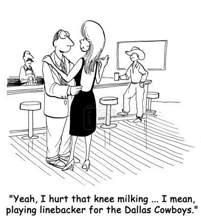 """Foto de En vez de decirle a la mujer atractiva es un granjero le dice a ella, """"Sí, me lastimé la rodilla ordeñando... es decir, jugando apoyador de los dallas cowboys"""". - Imagen libre de derechos"""