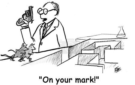 Cartoon illustration. Rat race