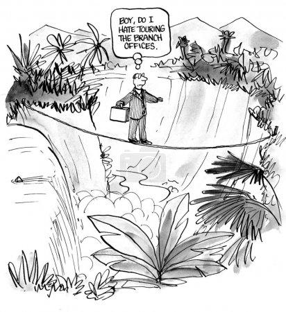 Photo pour Caricature d'affaires sur le pont de bureaux de direction en tournée - image libre de droit