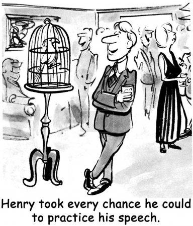 Photo pour Henry a pris toutes les chances de pratiquer son discours. . - image libre de droit