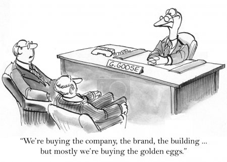 """Photo pour """"Nous achetons l'entreprise, la marque, le bâti ment, mais surtout nous achetons les œufs d'or."""" - image libre de droit"""
