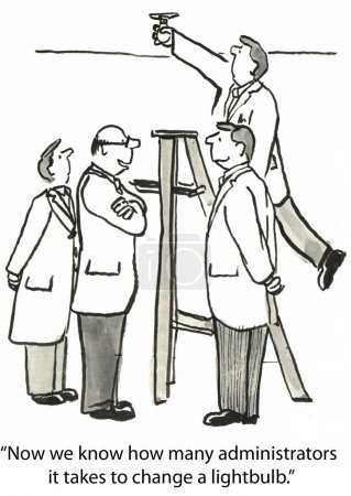 """Foto de """"Ahora sabemos cuántos administradores se necesitan para cambiar una bombilla ."""" - Imagen libre de derechos"""