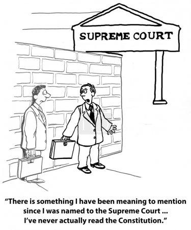"""Photo pour """"Il y a quelque chose que je voulais mentionner depuis que j'ai été nommé à la Cour Suprême... Je n'ai jamais lu la Constitution. ."""" - image libre de droit"""