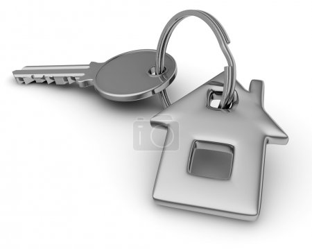 Photo for 3D illustration of Key of house isolated on white. - Royalty Free Image