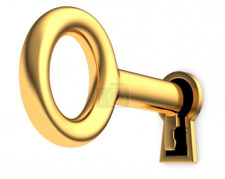 Photo pour Clé d'or dans le trou de la serrure 3d. isolé sur fond blanc - image libre de droit