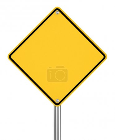 Photo for Blank yellow road sign on white background 3d illustration - Royalty Free Image