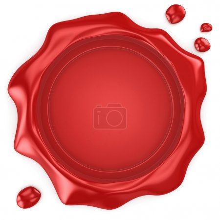 Wax seal with blank field on white background...