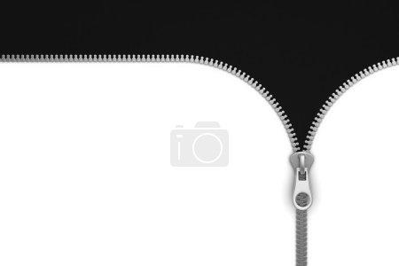 Foto de Cremallera sobre fondo blanco y negro, 3d - Imagen libre de derechos