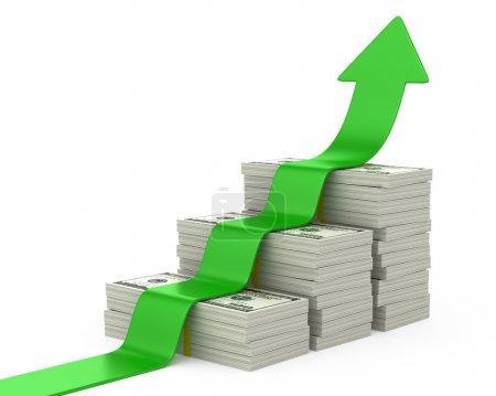 Dollars escalier et flèche vers le haut