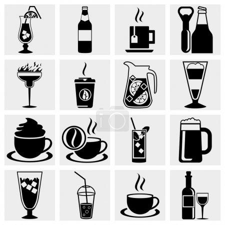 Illustration pour Ensemble d'icônes vectorielles pour boissons et boissons noires. Toutes les zones blanches sont coupées loin des icônes et des zones noires fusionnées . - image libre de droit