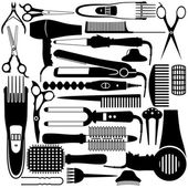 Hairdressing related symbol Vector set of accessories for hair