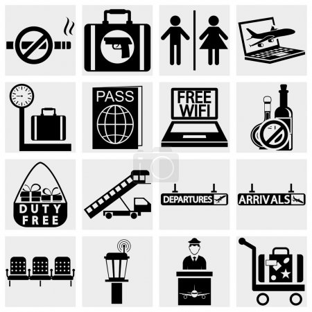 Illustration for Airport and transportation icons - vector icon set - Royalty Free Image