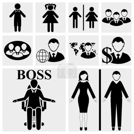 Man & Woman vector sign. Human resources and management icons set.